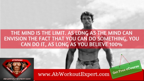 Young Arnold Schwarzenegger with Motivational Quote